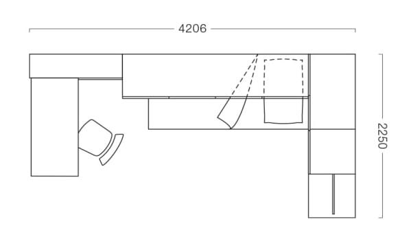 Piantina di cameretta per ragazza di 4x2 mq P27