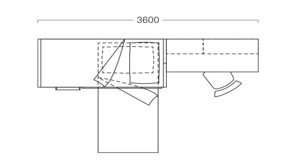 Piantina di cameretta con letti a castello lunga 360 cm S32
