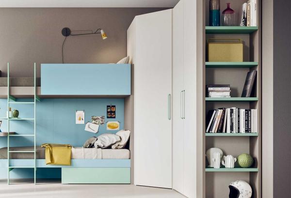 Maxy cabina armadio da cameretta con libreria integrata