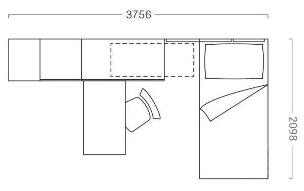 375 x 209 cm kids bedroom floor plan