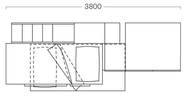 380 cm long bedroom set plan