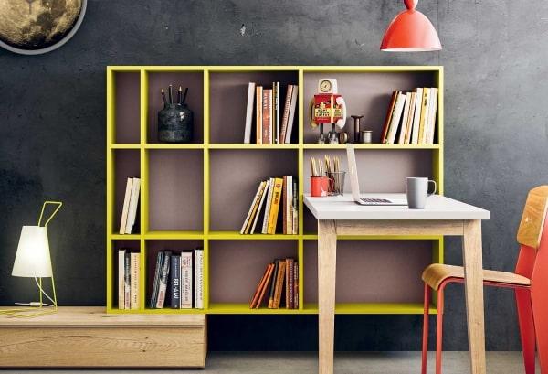Libreria gialla con scrivania integrata Gate