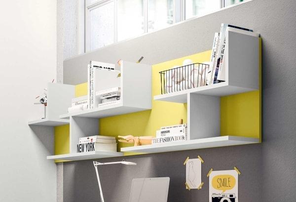 Mensole porta-libri modulari gialle e grigie Cross