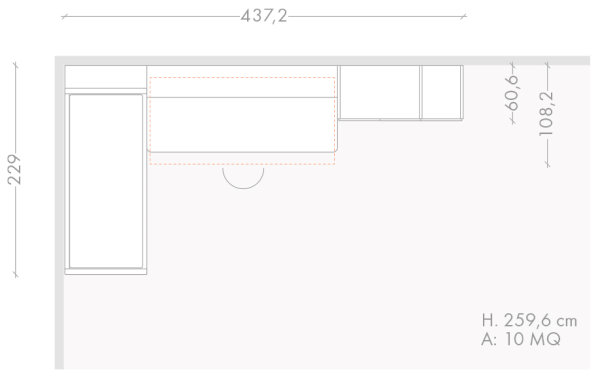 437 x 229 cm bedroom furniture plan