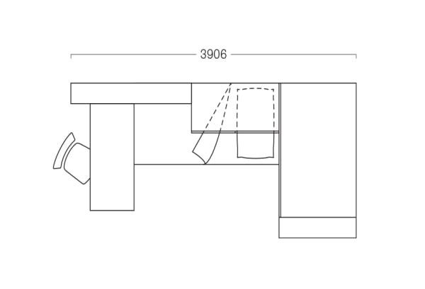 Piantina di una camera da letto per ragazza: cameretta di 390 cm